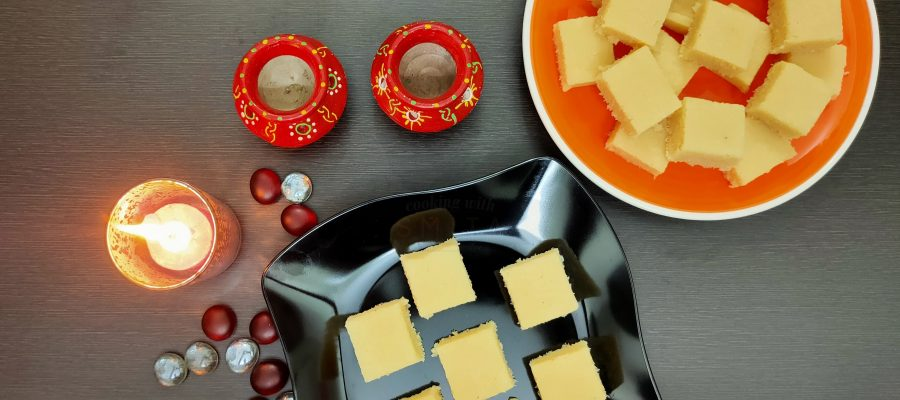 No-Cook 2 Ingredient Coconut Barfi by Cooking with Smita