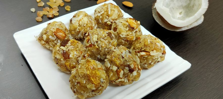Coconut Dink Dry Fruit Laddu Recipe by Cooking with Smita